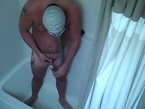 Pissing into my gas mask and fucking myself silly Super tits gif