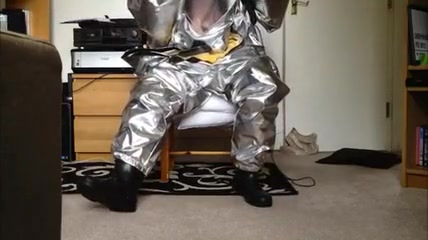 Hump & Stroke in Hazmat Costume with Aluminized Overcover Prince albert piercing porn