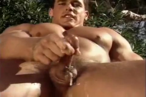 Beefy Stud Whacking Off In A Garden Hot black men with big dicks