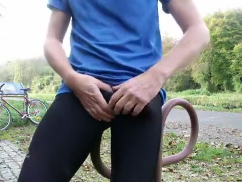 Young pissing and wanking in black lycra in public park Sexy slutty short haired women