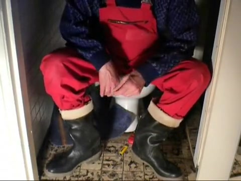 nlboots - red working trousers & rubber boots on toilet compilation ofinternal cumshot vids