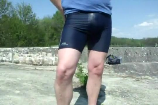 Young cyclist pissing in lycra in the public park Milf with big natural pair teases