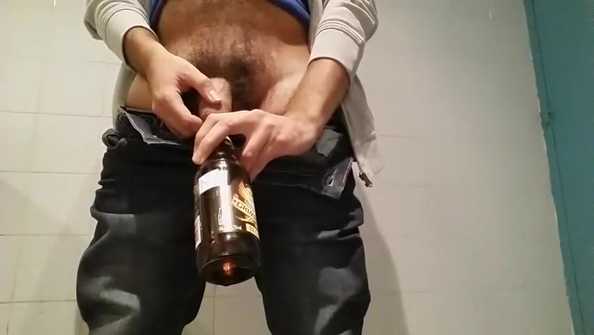 Pissing in beer bottle Her Ass Filled With Cum