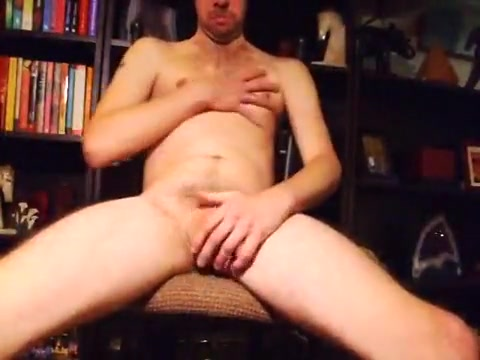 Jerking on a chair muscle man big cock