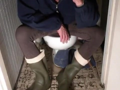 nlboots - lycra and green hunting boots on toilet Anal Licking sensual lesbian scene by SapphiX