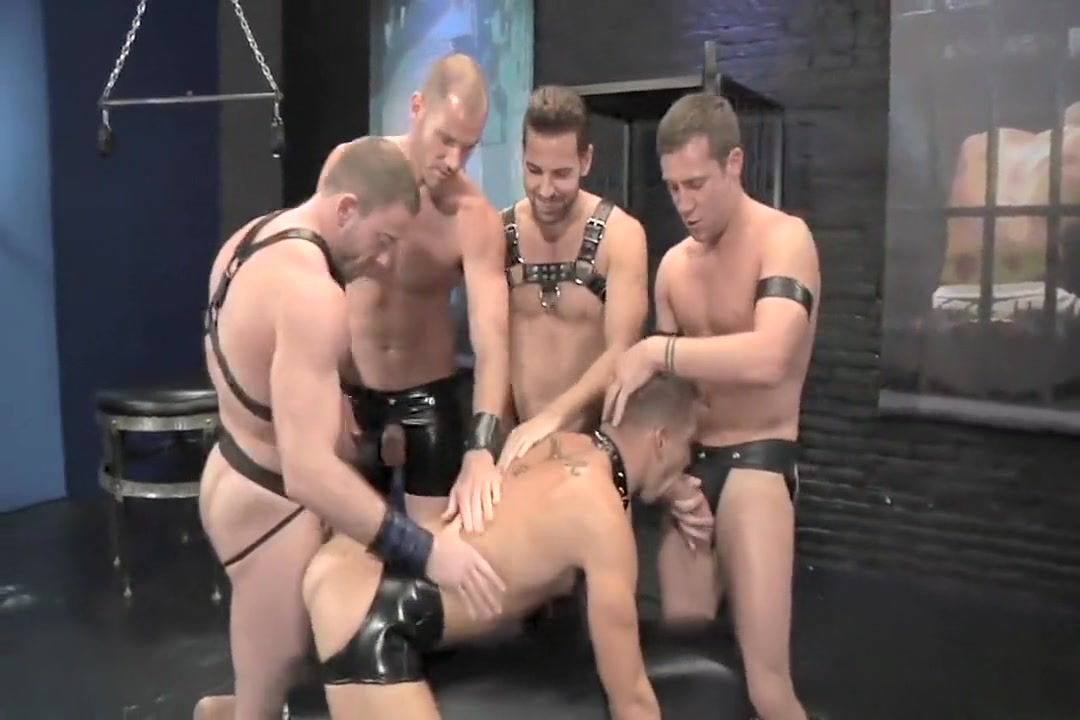 1-4 7 Leather Gang Bang tit fuck with bra