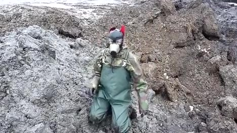 Getting muddy in waders getting fucked with dildo