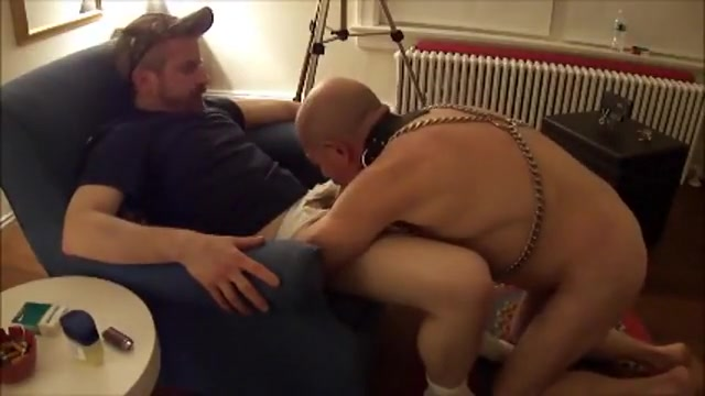Leather cock worshiper Gif nude covered in cum