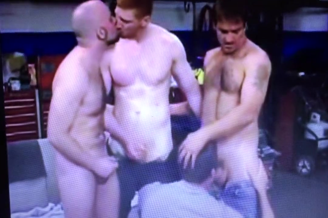 Mechanic Foursome gay makes straight cum