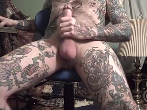 Rock Hard Jack Off of heavily tattooed guy. micro g string for men