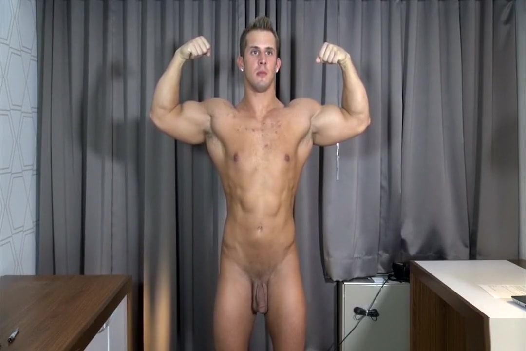 Muscle blond posing Secret dick