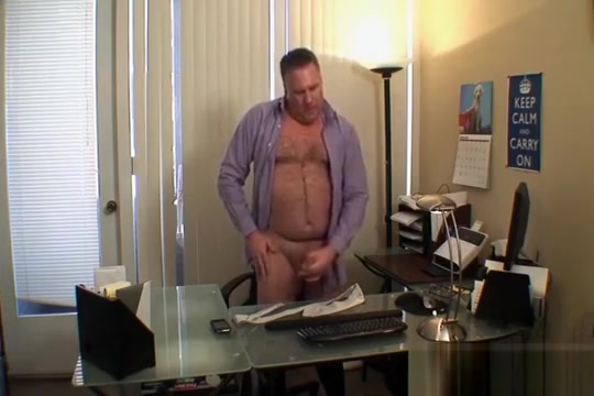 Daddy jerks off in his office Computer racks swinging shelf