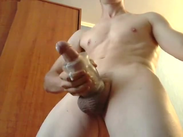 Young guy uses a sleeve masturbator toy to get orgasm and cum massive a new shemale lover