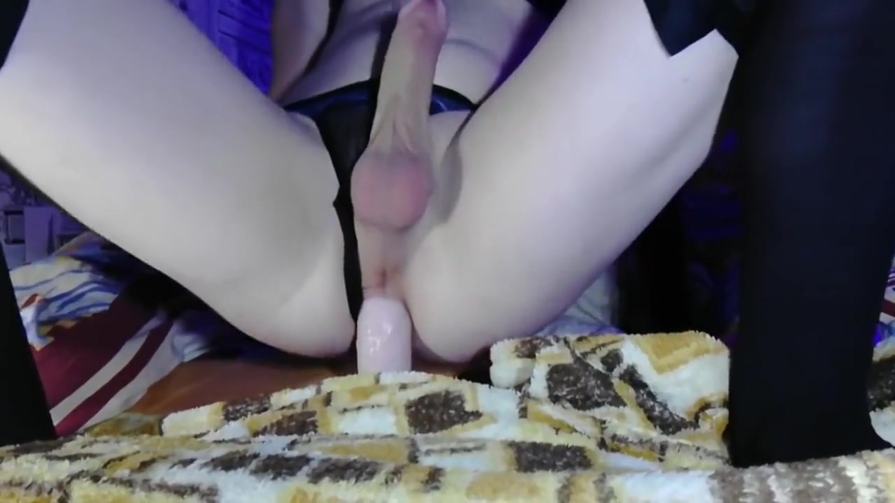 shemale-sissy anal masturbation and cumshot hot thin blonde fucked me