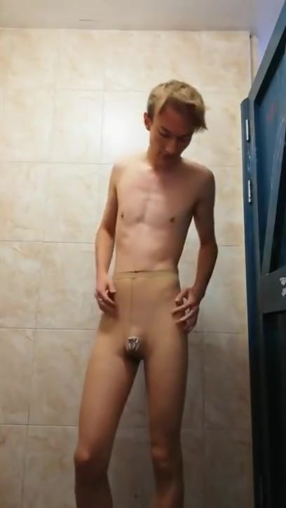 Piss Addicted Depraved Faggot in Pantyhose and Chastity Skinny Mature Russian