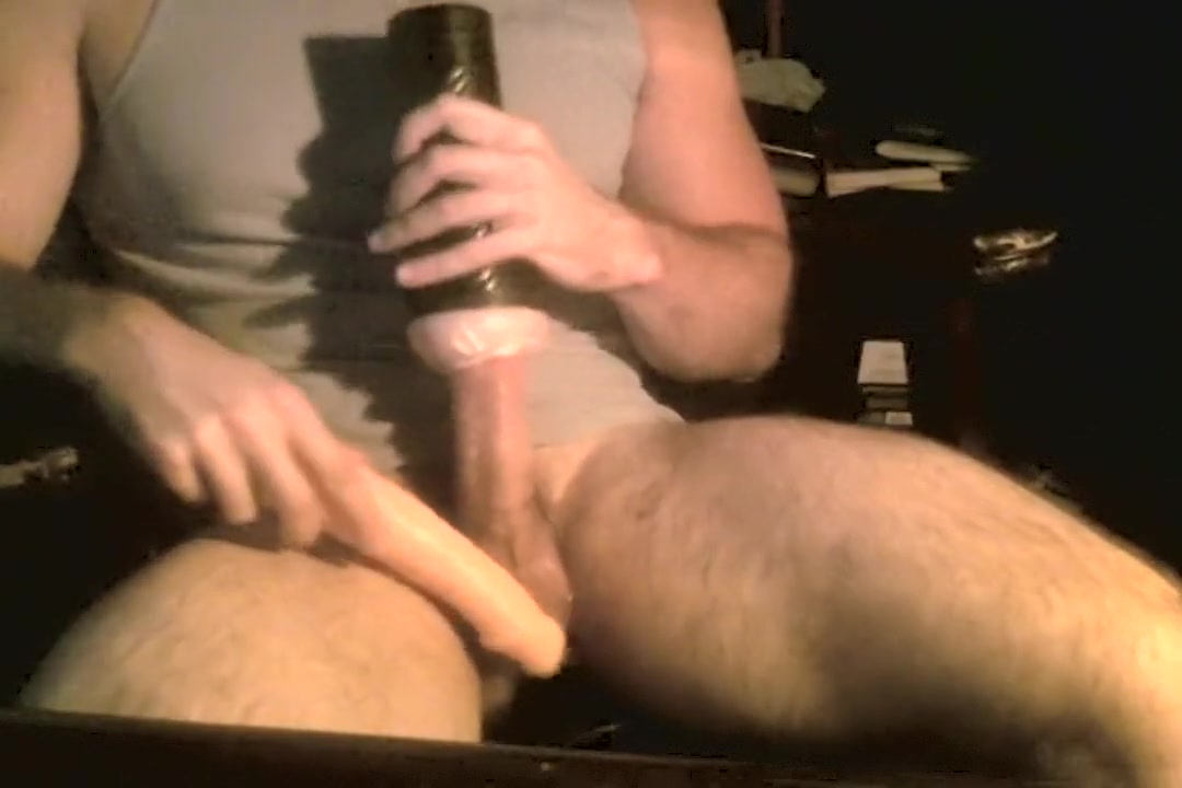 Guy Rubs His Dick with a Fleshlight & 9 inch Dildo Masturbation marathon video