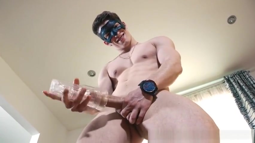 Masked ripped jock is playing with his cock until it gets stiff Blonde mature enjys both holes pleasured