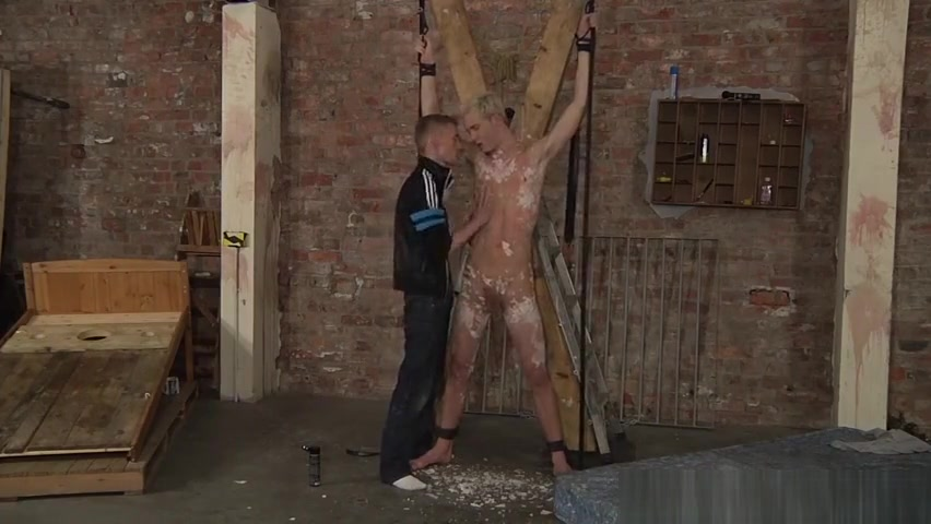 Twink Kris Blent covered with wax finally gets his reward Milk extraction