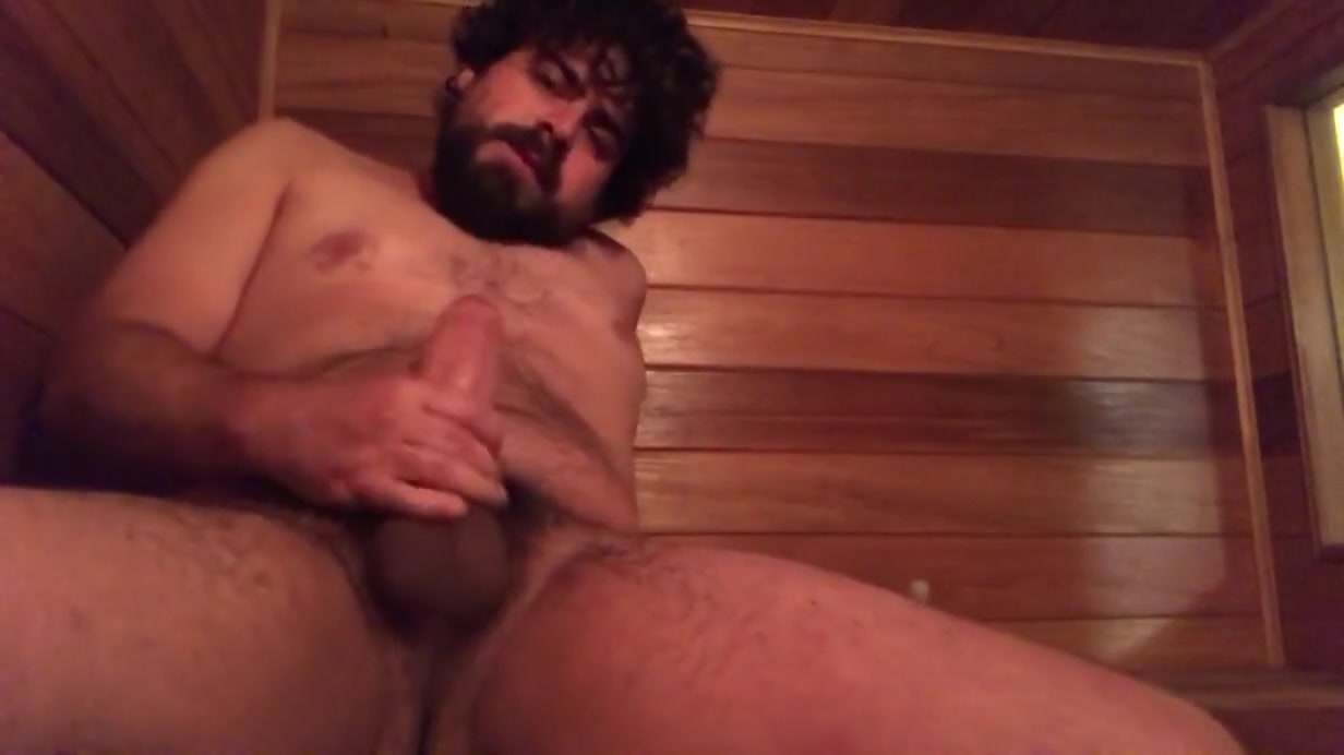 Young Hung Bear Enjoys his Thick Huge Cock in the Sauna Big black butt shemale