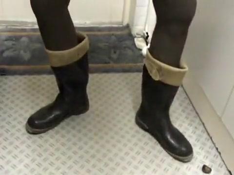 nlboots - rubber dominion boots leather sole she pillow humps on hiddencam 1