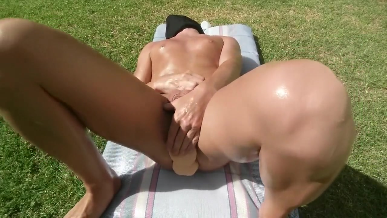 Fucking myself outside with LOTS of lube until I cum Clothed unclothed nude sex
