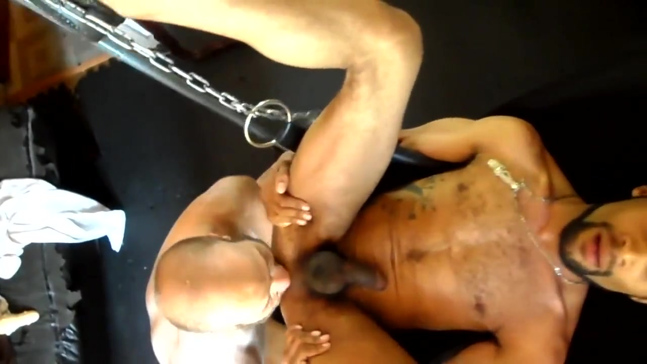 Big Dick Daddy Fucks Hot Interracial Otter Bareback in Sling Gaping vagina pictures