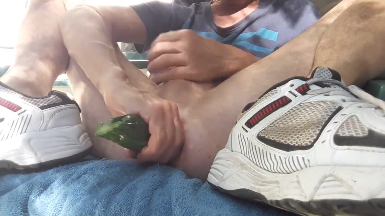 Zucchini fuck outdoor on my patio #1 Boy anal fuck