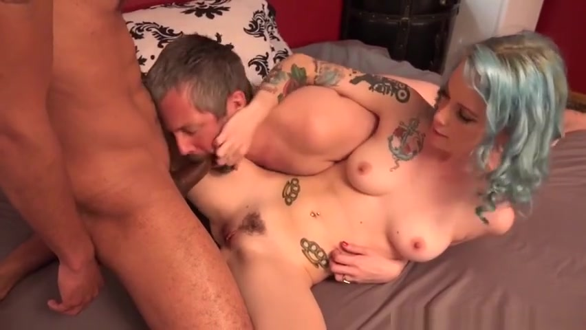 Blue haired lady fucks with bi guys model wet group sex thicknbustycom jpg 1