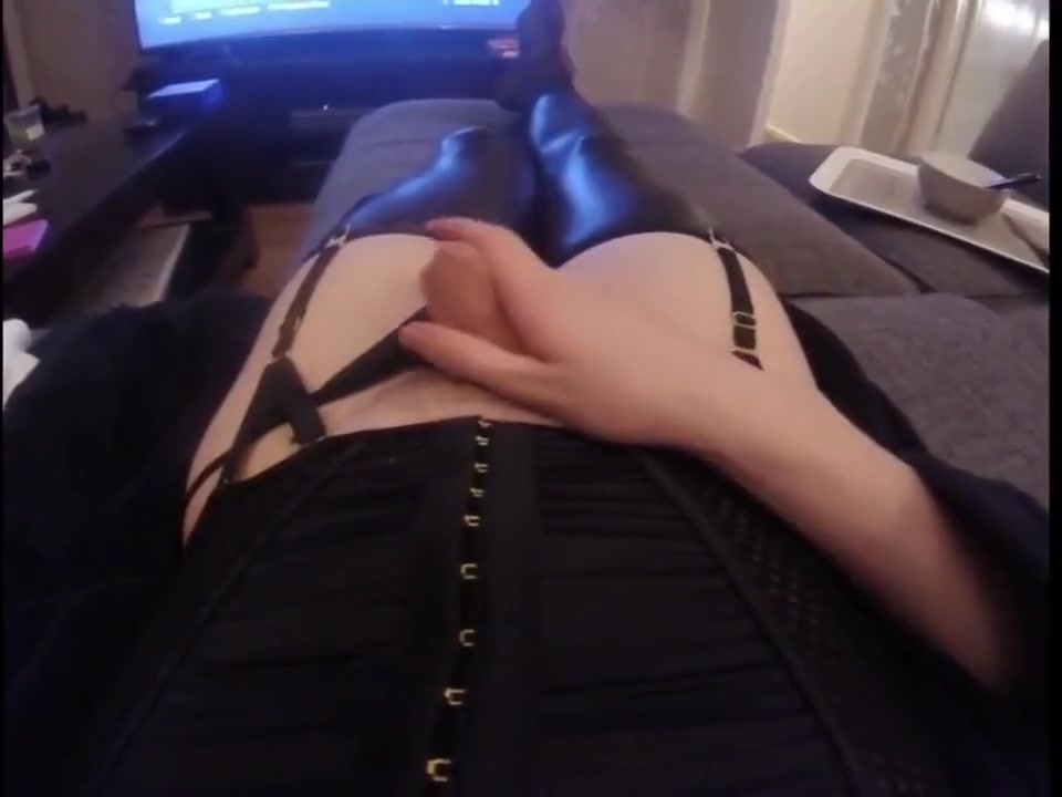 POV of Trap CD in gown and corset jerking off and cumming on himself Hookup a woman in her early 30s