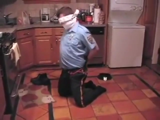 BG Cop bound gagged and blindfolded in the kitchen Sexy women in tights porn