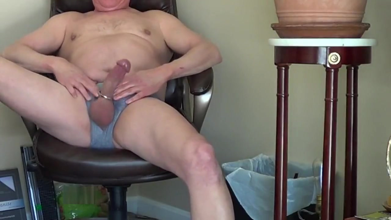 Sticking my dick thru my underwear makes for a tight grip for a hot solo mature milf and son