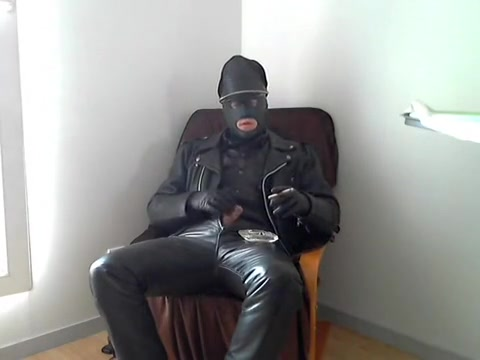 leather biker masked glove smoke cigare relax Painfull pussy of girls