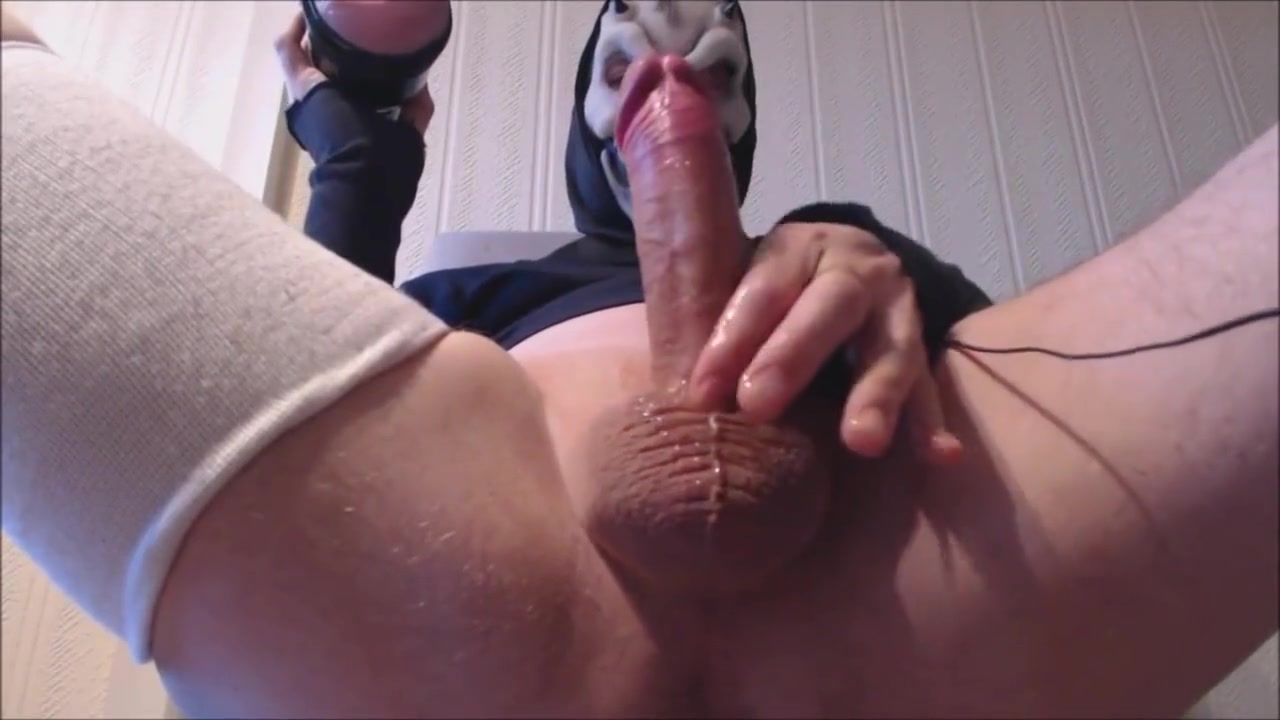 My solo 87 (Legs up pink lady fuck and cum wearing my mask) nylon footjob cum on wife feet porn 2