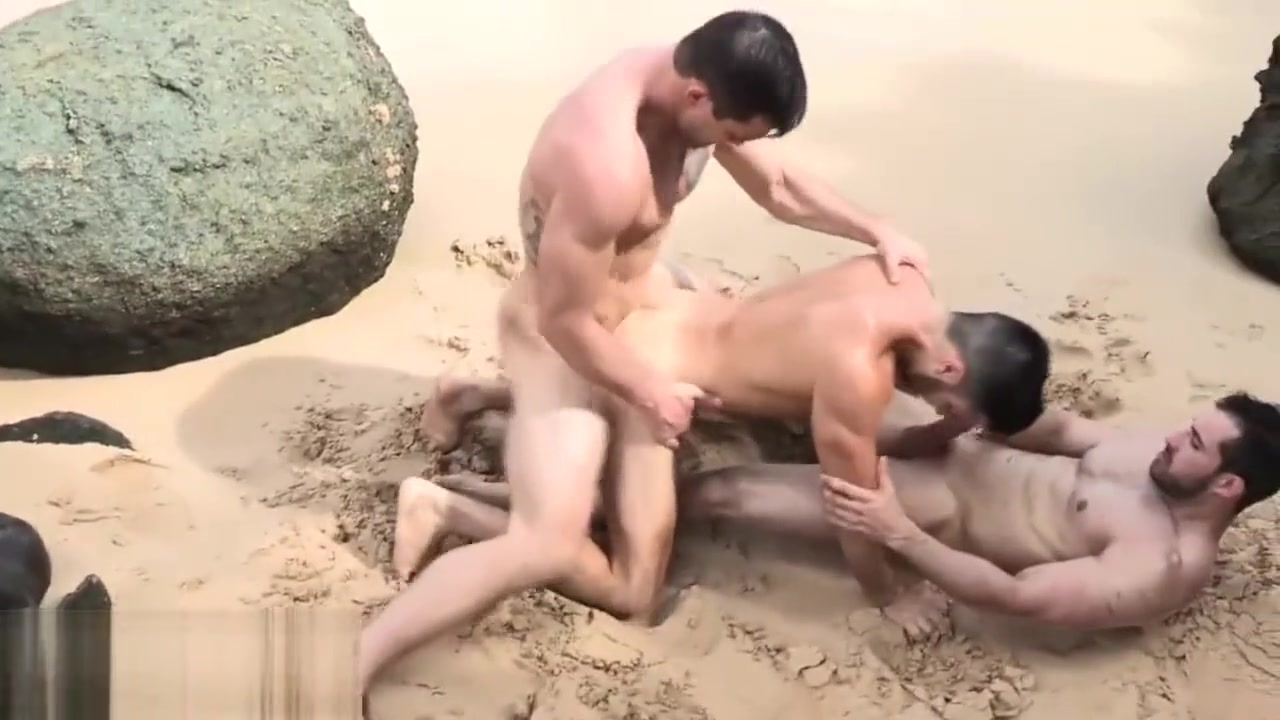 3 handsome hunk fuck each others in public beach Xxx Porn Threesome
