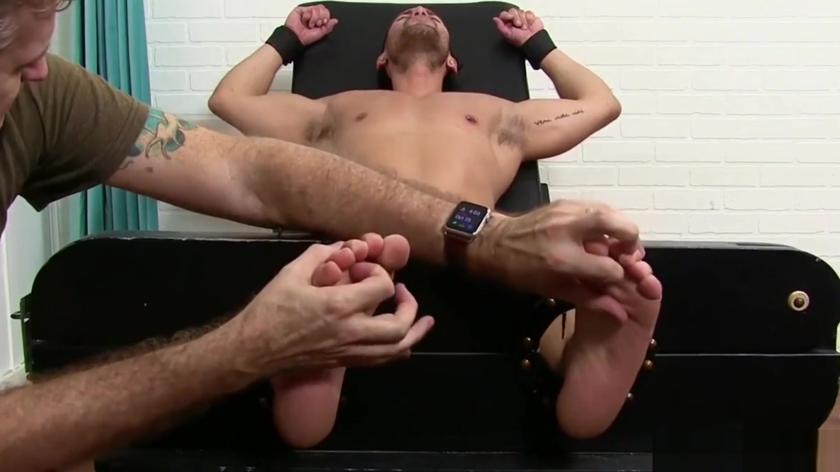 Jock on the bondage device receives freaky double tickling mature over 50 anal sex