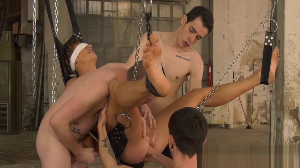 Restrained and blindfolded sub anally fisted in an orgy my hairy unt wheel of