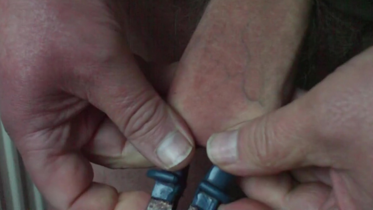 Large blue pliers in foreskin Asian shemale gets fucked
