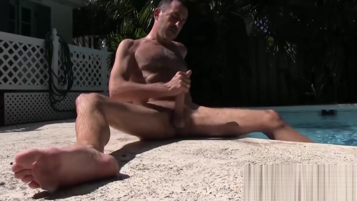 Lusty butt pirate plays with his dick by the pool and cums Tit Fuck Tubes