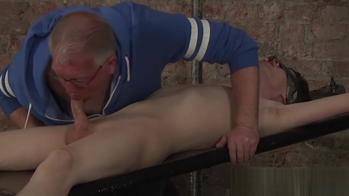 Mature pervert makes his bound slave jizz all over the place Cum Bucket Creampie