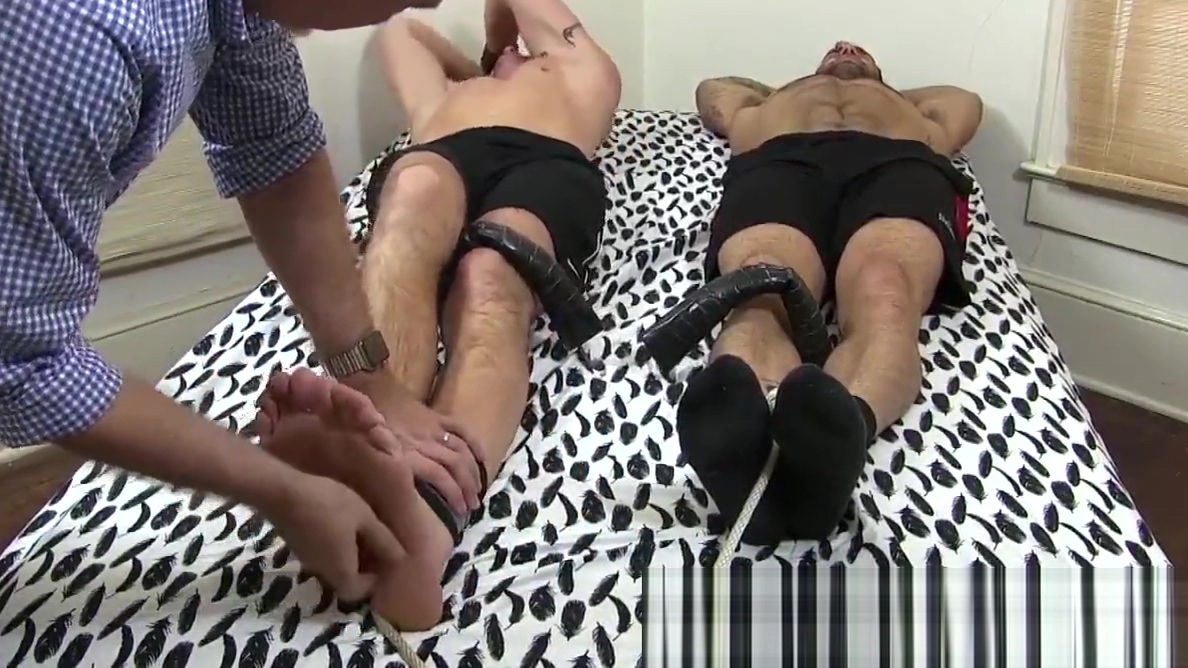 Handsome men mercilessly tickled by well equipped deviant Husband watches wife with a woman