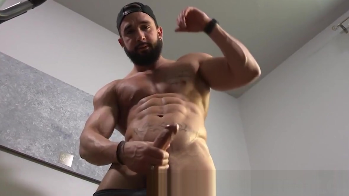 Muscular hunk with beard solo masturbating inside the gym penis pums with masturbation action
