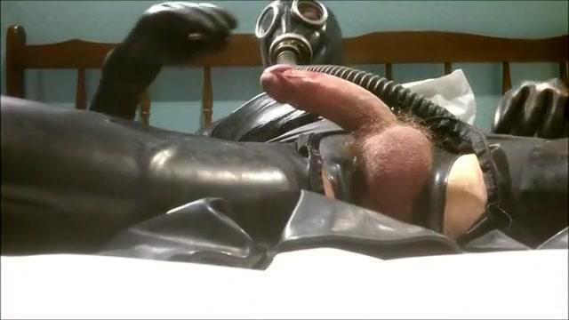 Rubber and gasmask jerk off black dicks busting nut solo