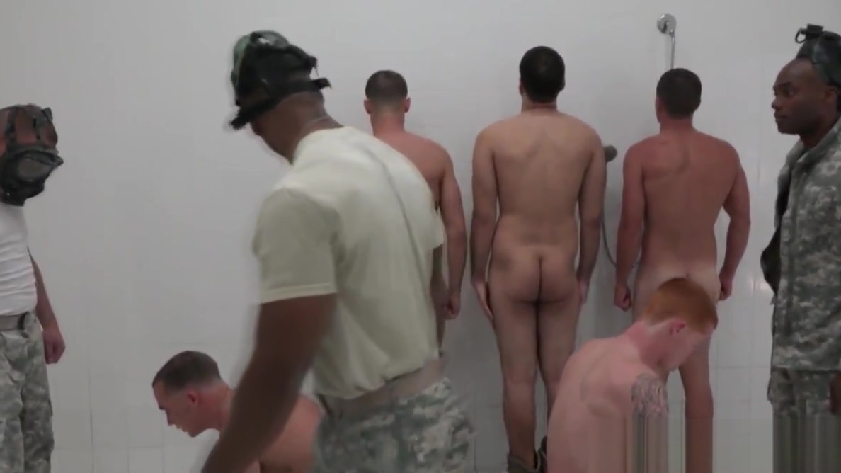 Humiliated military hunk cumcovered in shower shemale gives facial to girl