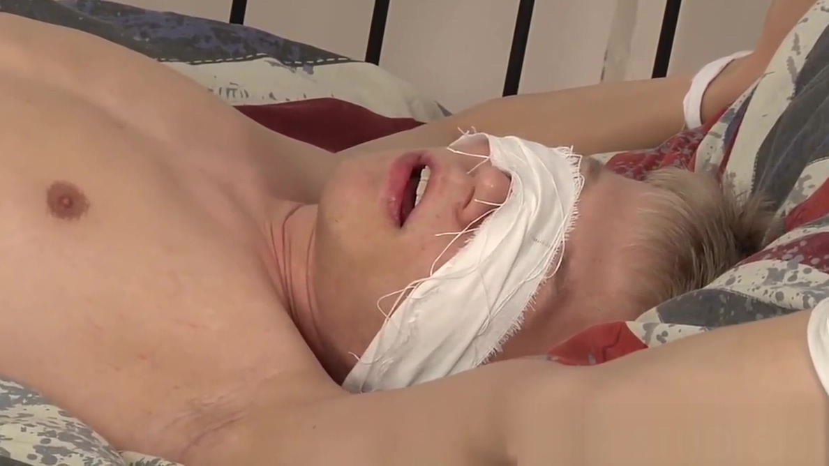 Naked tied up and blindfolded dude receives a nice hanjdob Fuck buddy in Lance
