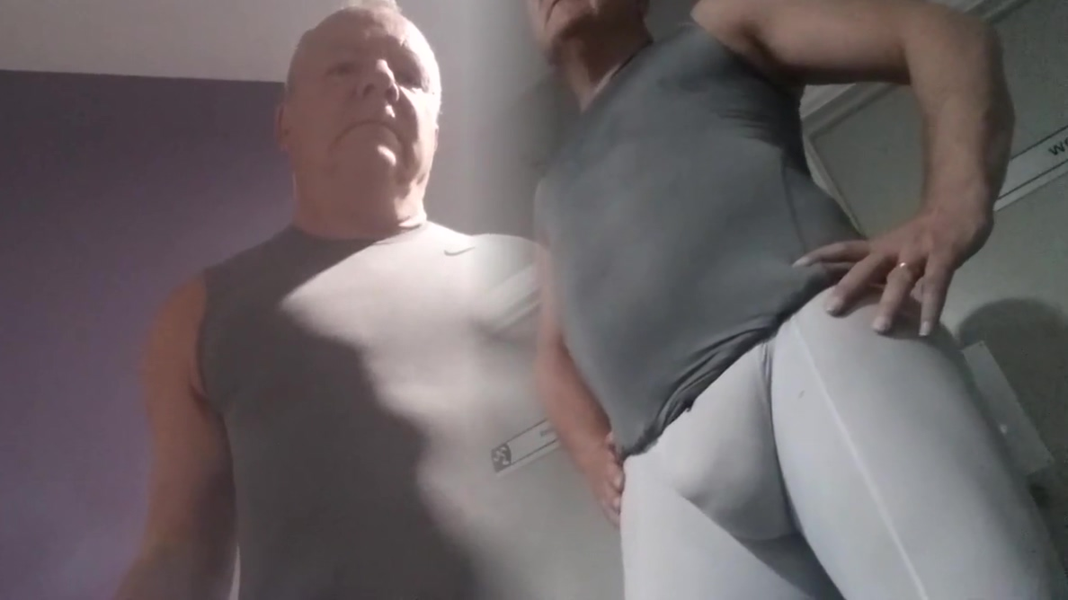 New gym - white spandex Long nipple boobs