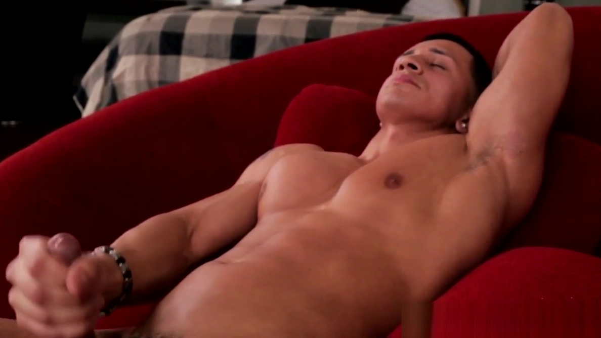 Ripped jerk with sixpack jerking on couch Bukkake by the dozen