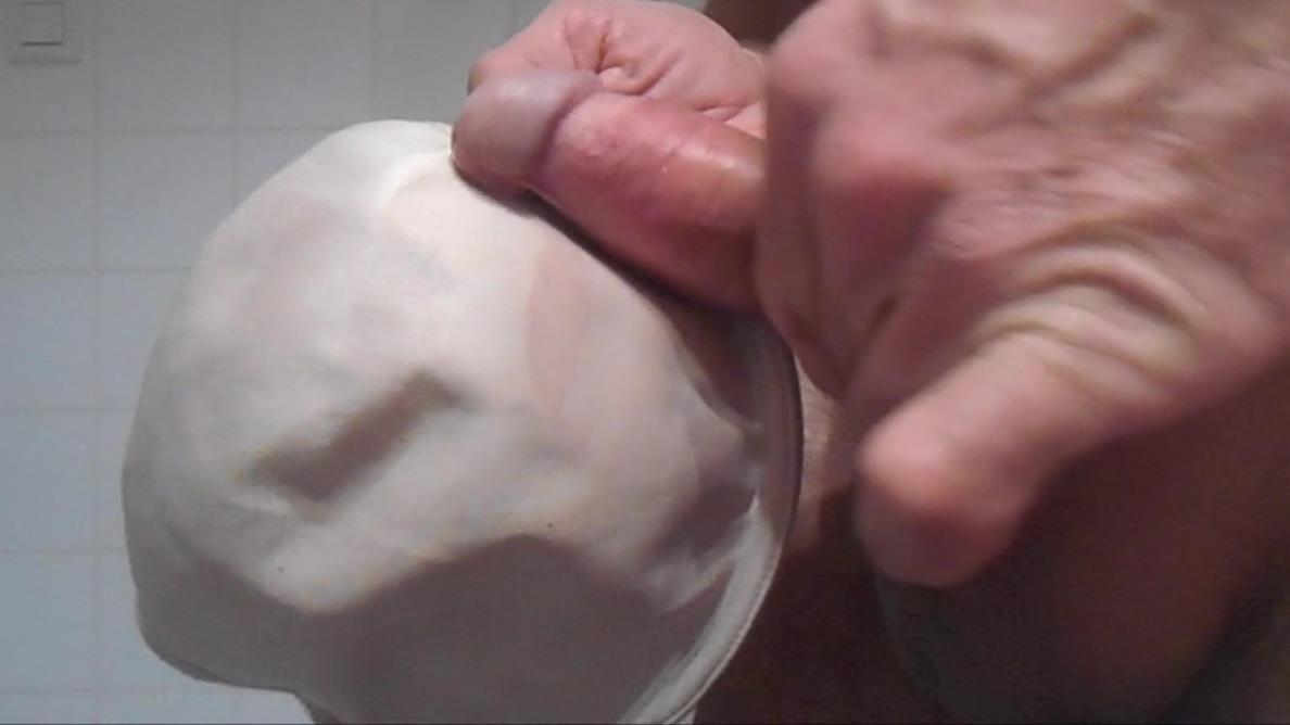 bra for my big cock . ( + slow motion ) Mature self pics