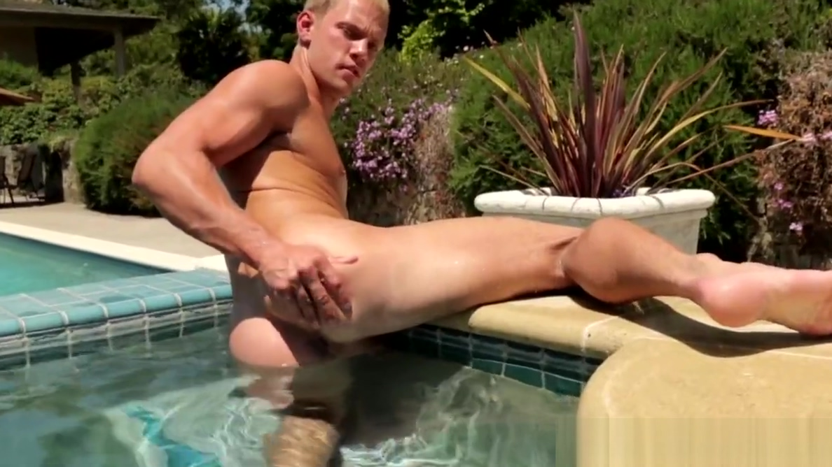 Outdoor stud jerking poolside before cumshot male nude vista theme