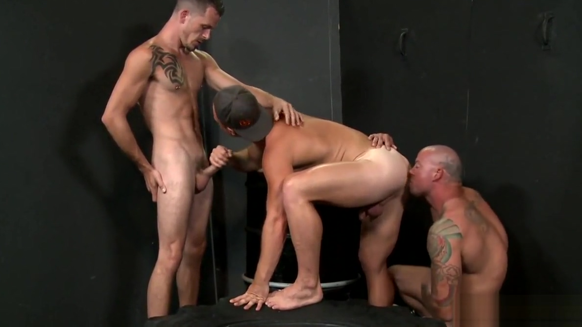 Hot guys enjoy their threesome Black female ass worship