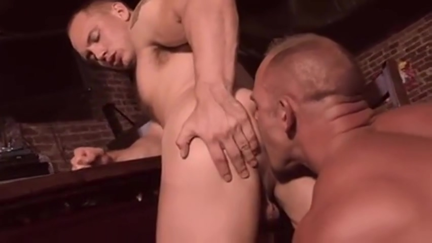 Two muscular men at the pool bar Adults sex act photos